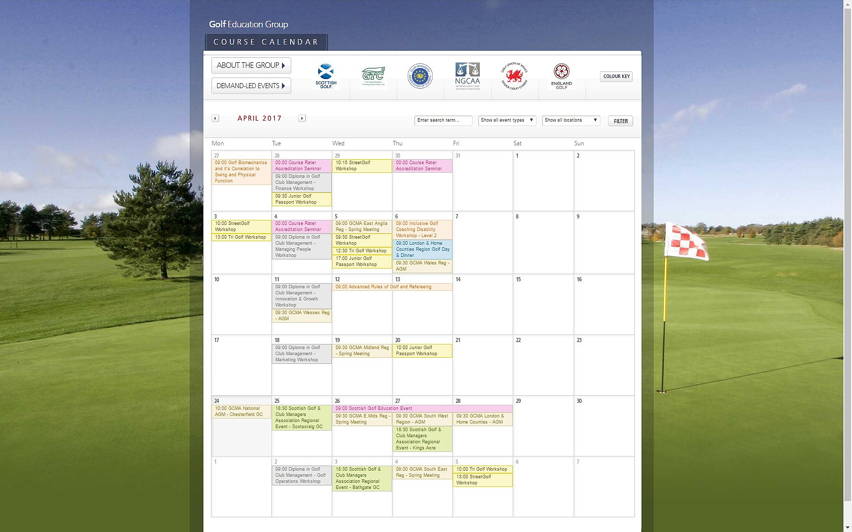 Golf Education Calendar
